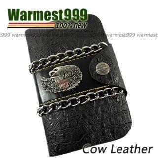 Mens Genuine Leather Wallet Purse Chain Billfold Credit Card Holder