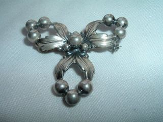 VINTAGE ESTATE SIGNED DENMARK NE FROM STERLING SILVER FLORAL PIN