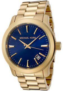 MICHAEL KORS GOLD TONE STAINLESS STEEL NAVY BLUE DIAL MEN WATCH MK7049