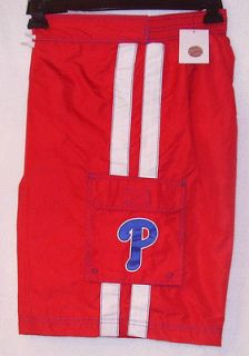 NEW MLB PHILADELPHIA PHILLIES EMBROIDERED STRIPE SWIM TRUNKS BATHING