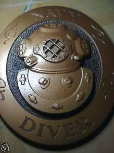 mark v commercial dive helmet plaque navy diver sign time