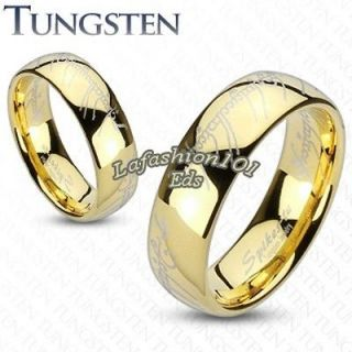 8mm Gold Ion Plated Tungsten Laser Design Mens Lord of the ring SZ 9