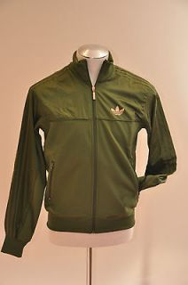 70 Adidas Originals Mens Track Jacket Strong Olive Green Zip Front