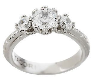 Tacori IV Diamonique Epiphany Bloom Cut 3 Stone Ring Sz 7