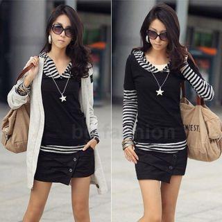 Korea Womens Casual Long Sleeve Black&White Stripe Hoodie T shirts