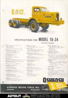 1959 oshkosh 18 34 26 ton tandem tractor truck brochure