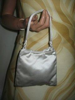 PRADA MILANO Italian White Silver Satin EVENING BAG Purse Tote HANDBAG