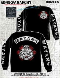 ANARCHY MAYANS RIVAL GANG MOTORCYCLE SOA BIKER LONG SLEEVE T SHIRT XL