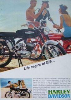 1967 HARLEY DAVIDSON RAPIDO 125 MOTORCYCLE AD Girls Bikini Beach