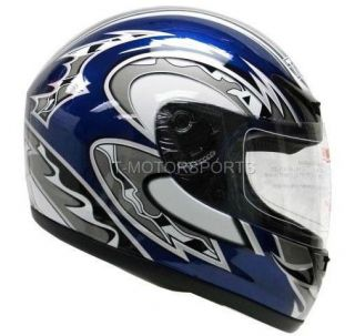 BLUE FULL FACE MOTORCYCLE HELMET SPORT BIKE RACE FLAG~S/M/L/XL