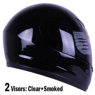 Gloss Black Full Face Motorcycle Helmet DOT +2 VISOR Size S, M, L, XL
