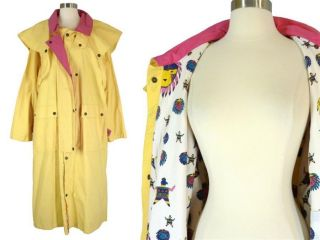 Vtg 80s Overland Outfitters Yellow Southwestern Print TRENCH Rain Coat