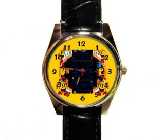 pacman wrist watch ladys mens girls boys novelty watch time
