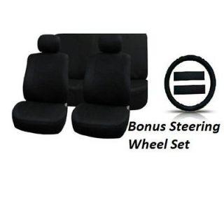 11pc SOLID BLACK Seat Covers FULL INTERIOR SET BONUS Steering Wheel