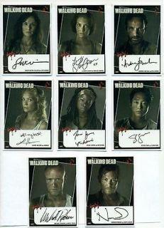 Walking Dead Set of 8 Autograph reprint cards Daryl Rick Michonne