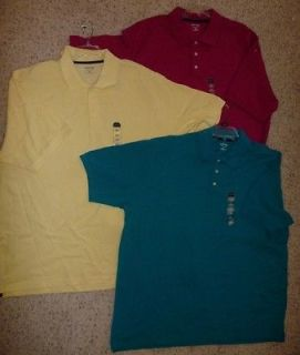 NWT Mens St. Johns Bay Pique POLO shirt SIZE 3XL Tall Cotton yellow