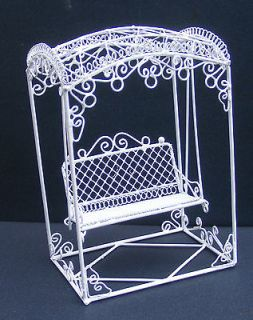 White Wire Garden Swing Seat Doll House Miniature Furniture Accessory