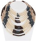 TOM BINNS MULTI COLOR PEARL BEADED STRAND NECKLACE