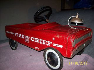 Vintage AMF Red Fire Chief No 503 Pedal Car Metal Fire Engine Truck