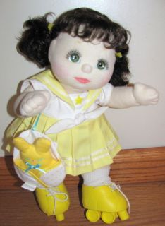 My Child Doll 1985 Green Eyes Brown Hair Pigtails Original Yellow
