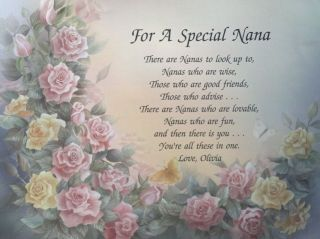 SPECIAL NANA OR NAN PERSONALIZED GRANDMOTHER POEM BIRTHDAY OR