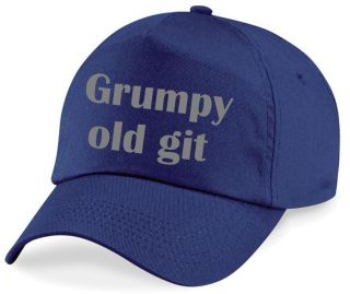 GRUMPY OLD GIT Printed Baseball Cap Navy Blue Hat Funny Rude Joke Gift