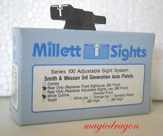 Millett Smith & Wesson 3rd Generation Auto Adjustable Rear Sight .