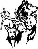 Animal Assortment Vinyl Sticker Decal Hunting deer wolf mountain lion
