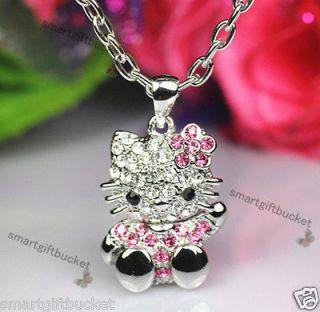 Mini 3D Hello Kitty Silver Necklace Crystal Bling Rhinestone Say HI