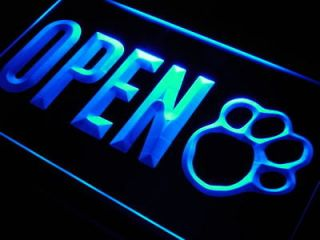 j792 b OPEN Dog Paw Print Grooming Shop Neon Light Sign