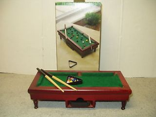 Game MINI POOL TABLE DESK GAME Wooden Table Balls Cue Sticks Take