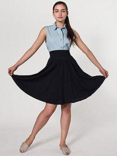 American Apparel Sheer Jersey Shirred Knee Length Skirt RSA6327