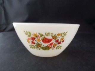 Arcopal France Glass Mixing Bowl 2 Cup 16 Oz Birds Flowers Leaves