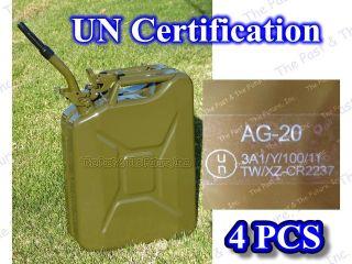 UN Certification Nato Style Portable Jerry Can / Gas Tank 20L 4 Pcs w