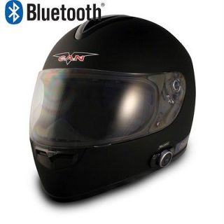 V136 BLACK FULL MATTE FACE BLUETOOTH MOTORCYCLE HELMET DUAL SPEAKERS