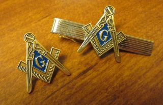 Masonic square & compass Tie clasp & lapel pin set Nice gift for any