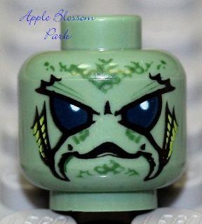 NEW Lego Alien MINIFIG HEAD  Sand Green Monster w/Blue eyes   Atlantis