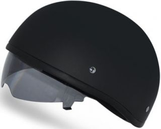 BLACK INNER SHIELD DOT Motorcycle Half Helmet LOW PROFILE, NEW D68B