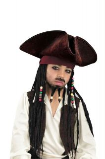 boys pirate jack sparrow hat wig costume new dg18423