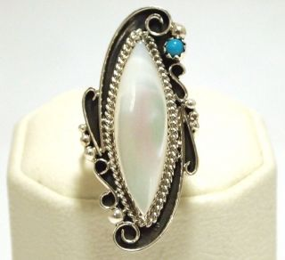 Navajo Mother of Pearl & Turquoise Sterling Silver Womens Ring