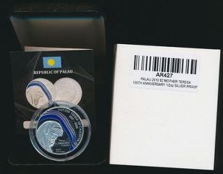 Palau 2010 $2 Silver Proof Mother Teresa Centenary Mintage 1,000