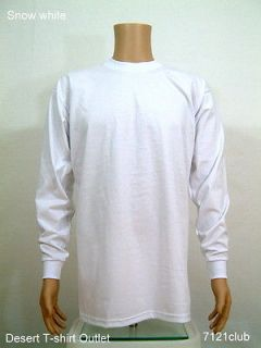 4XL TALL Heavy Weight Plain Long Sleeve T shirts WHITE PRO CLUB 4XLT