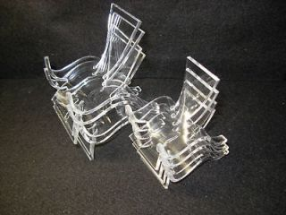 set of clear plastic display stands 4 medium 4 large
