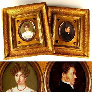 PAIR ANTIQUE GEORGIAN MINIATURE PORTRAIT PAINTINGS GENTLEMAN & LADY