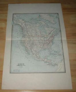 original old 1884 antique map north america