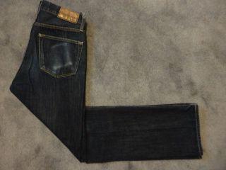 002 Low Rise Cuffable Straight Leg Dark Blue Denim Jeans 29 x 30.5