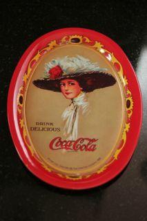coca cola red oval tin tray w 1909 coke calendar