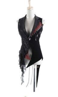 Japan Unisex Visual KEI Punk Rock cross lace coat jacket blazer vest S