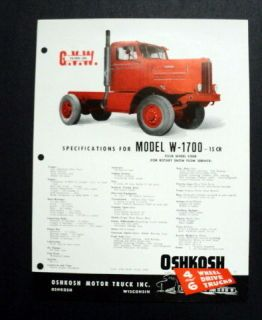 Oshkosh 1959 Model W 1700 15cr Gasoline 4Whl Steer Rotary Snow Plow
