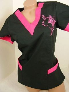 New Nursing Scrub Black Pink Embroidery Butterfly Top L (10 12)